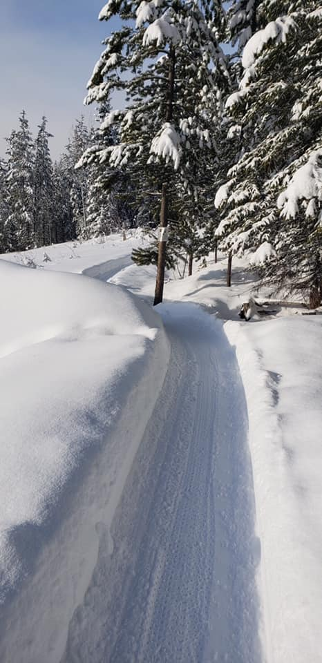 Groomed Trail through Snow
